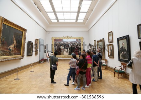 MOSCOW, RUSSIA - JULY, 23 2015: The State Tretyakov Gallery is an art gallery in Moscow, Russia, the foremost depository of Russian fine art in the world. Gallery's history starts in 1856.  - stock photo