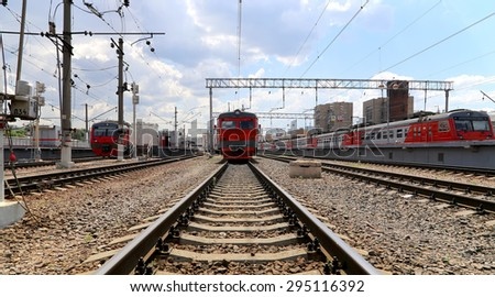 MOSCOW, RUSSIA - JULY, 02 2015: Train on Moscow passenger platform (Savelovsky railway station) is one of the nine main railway stations in Moscow, Russia