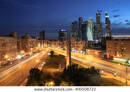 MOSCOW, RUSSIA - JUN 6, 2015: Intersection of Kutuzov Avenue and Big Dorogomilovskaya street in evening. Monument Moscow Hero-city is located at this intersection - stock photo