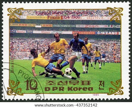 MOSCOW, RUSSIA - JUNE 15, 2016: A stamp printed in DPR Korea shows Brazil vs. Italy, 1970, series World Cup Soccer 1970-1986, 1985 - stock photo