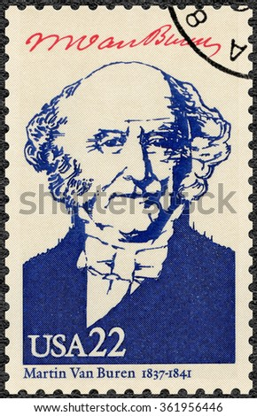 MOSCOW, RUSSIA - JUNE 04, 2015: A stamp printed in USA shows portrait Martin Van Buren (1782-1862), eighth President of the USA, series Presidents of USA, 1986 - stock photo