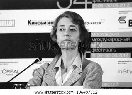 "MOSCOW, RUSSIA - JUNE 30: Actress Charlotte Rampling  at press-conference of ""I, Anna"" movie at XXXIV Moscow International Film Festival  Taken on June 30, 2012 in Moscow, Russia."