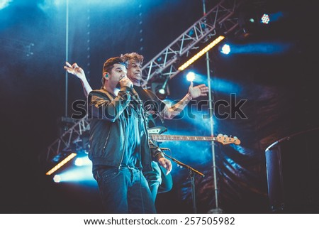 MOSCOW, RUSSIA - JUNE 29, 2014 - American alternative metal band Deftones performing live at Park Live festival at at the National Exhibition Centre on June 29, 2014 in Moscow, Russia - stock photo