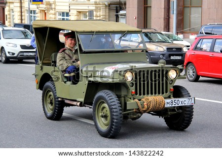 MOSCOW, RUSSIA - JUNE 2: American command car Willys MB competes at the annual L.U.C. Chopard Classic Weekend Rally on June 2, 2013 in Moscow, Russia.