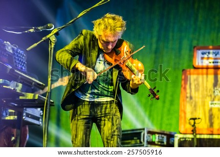 MOSCOW, RUSSIA - JUNE 29, 2014 - Breton musician Yann Tiersen performing live at Park Live festival at at the National Exhibition Centre on June 29, 2014 in Moscow, Russia - stock photo