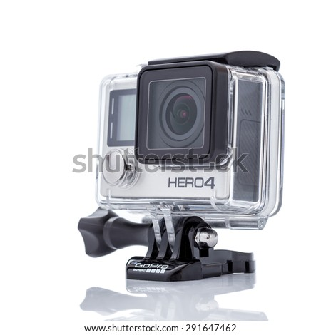 MOSCOW, RUSSIA- june 29, 2015: GoPro Hero 4 Black Edition isolated on white background.manufactured by GoPro Inc.pro, - stock photo