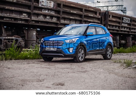 MOSCOW, RUSSIA - JUNE 25, 2017 Hyundai Creta / Hyundai ix25, front-side view. Test of new Hyundai Creta / Hyundai ix25. This car is 4WD compact crossover SUV. 2.0