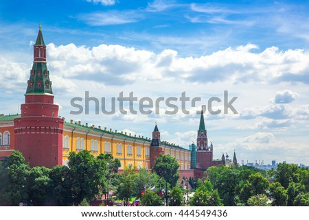 MOSCOW, RUSSIA - JUNE 24, 2016: Moscow Kremlin towers and Alexander Garden, aerial panorama