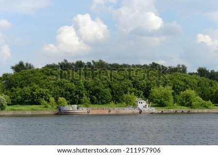 MOSCOW, RUSSIA - JUNE 10, 2013:  Moscow - the average river in central Russia, in Moscow, in the Smolensk region, left tributary of the Oka. Moscow - river  in  in  southern part of the capital