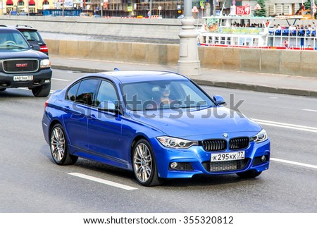 MOSCOW, RUSSIA - JUNE 2, 2013: Motor car BMW F30 3-series at the city street. - stock photo