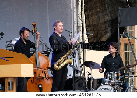 Moscow, Russia - June 4: Music band performing on International Jazz Festival Usadba Jazz in Archangelskoye Museum-Mansion on June 4, 2016 in Moscow