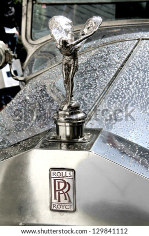MOSCOW, RUSSIA - JUNE 3: Spirit of Ecstasy is the bonnet ornament on the english car Rolls-Royce Phantom competed at the annual L.U.C. Chopard Classic Weekend Rally on June 3, 2012 in Moscow, Russia. - stock photo
