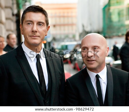 MOSCOW, RUSSIA - JUNE 24: Stefano Gabbana (left) and Domenico Dolce (right) arrive at the opening of a new boutique Dolce & Gabbana June 24, 2010 in Moscow.