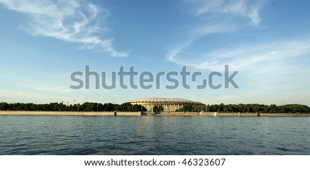 Moscow, Russia, look at the big sports arena Luzhniki Olympic Complex - stock photo