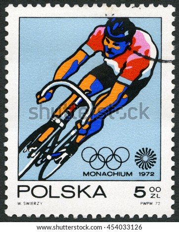MOSCOW, RUSSIA - MARCH 27, 2015: A stamp printed in Poland shows Bicycling, series 20th Olympic Games, Munich, 1971 - stock photo
