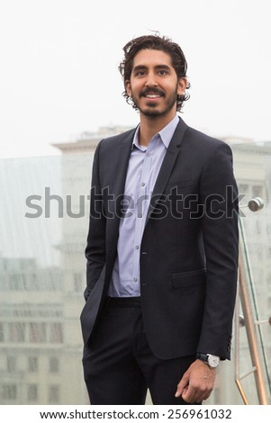 "MOSCOW, RUSSIA, MARCH, 01: Actor Dev Patel. Photo-call of the movie ""Chappie"", March, 01, 2015 at RITZ HOTEL in Moscow, Russia - stock photo"