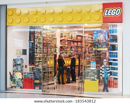 Moscow, Russia - March 23, 2014: LEGO Shop at the mall Metropolis. LEGO - is a popular line of construction toys manufactured by The Lego Group.