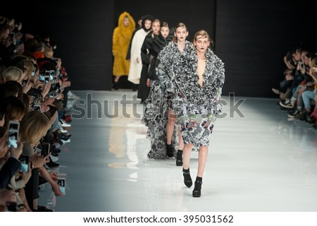 MOSCOW, RUSSIA - MARCH 15, 2016: Model walk runway for VIVA VOX show at Fall 2016 Mercedes Benz Fashion Week - Russia.