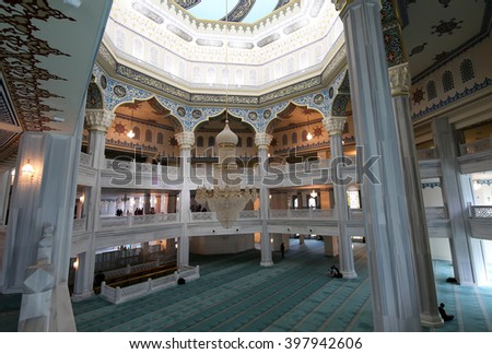 MOSCOW, RUSSIA- MARCH 28, 2016:. Moscow Cathedral Mosque (interior), Russia -- the main mosque in Moscow, new landmark  - stock photo
