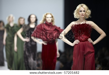 MOSCOW, RUSSIA - March 21: Show of Vepa Soyun collection during Volvo Fashion Week in March 21, 2010 in Moscow, Russia. - stock photo