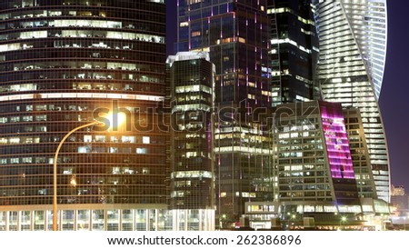 MOSCOW, RUSSIA- MARCH 15, 2015:Skyscrapers International Business Center (City) at night, Moscow, Russia