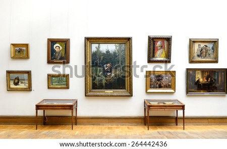 MOSCOW, RUSSIA - MARCH 13,2015:State Tretyakov Gallery is art gallery, foremost depository of Russian fine art in world. Gallery's history starts in 1856. Hall of Great Russian artist Viktor Vasnetsov - stock photo