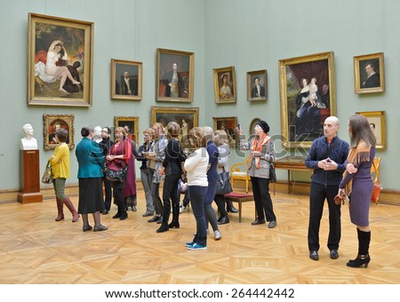 MOSCOW, RUSSIA - MARCH 13,2015:State Tretyakov Gallery is art gallery, foremost depository of Russian fine art in world. Gallery's history starts in 1856. Hall of Great Russian artist Karl Bryullov - stock photo