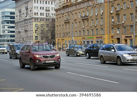 Moscow, Russia - March 14, 2016. Traffic on Garden Ring. Sadovoe koltso -circular main street in central Moscow.