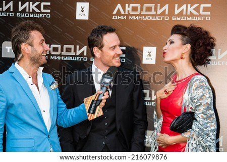 """MOSCOW, RUSSIA, May, 13: Actor Michael Fassbender. Premiere of the movie """"X-Men"""", May, 13, 2014 at Rossiya Cinema in Moscow, Russia - stock photo"""
