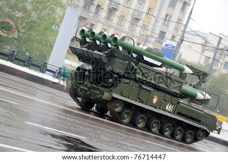 MOSCOW, RUSSIA - MAY 07: BUK-M2 missile system May 07, 2011 in Moscow, Russia. Dress rehearsal of the Military Parade. - stock photo