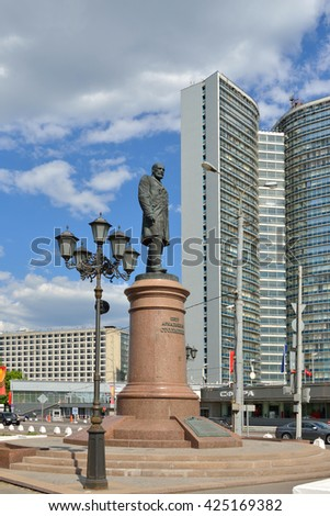 MOSCOW, RUSSIA - MAY 7, 2016:In 2012 monument was erected of Stolypin on Freedom of Russia Square, outside House of Russian Government, in commemoration of 150th anniversary of Russian statesman birth