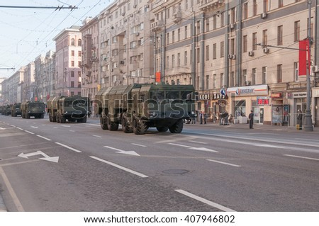 MOSCOW/RUSSIA - MAY 9: 9K720 Iskander (SS-26 Stone) mobile theater ballistic missile systems motorcade moves on parade devoted to Victory Day on May 9, 2013 in Moscow.