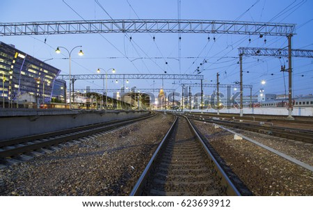 MOSCOW, RUSSIA - MAY, 21 2015: Kiyevskaya railway station  (Kiyevsky railway terminal,  Kievskiy vokzal) at night-- is one of the nine main railway stations of Moscow, Russia