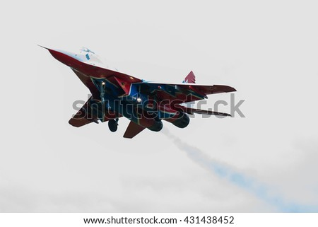 MOSCOW, RUSSIA - MAY 21, 2016: Mikoyan Gurevich MiG-29 of Swifts aerobatic team of russian air force. Avia flying in honor of the birthday of aerobatic teams: Russian Knights, Strizhi. Mig-29 landing
