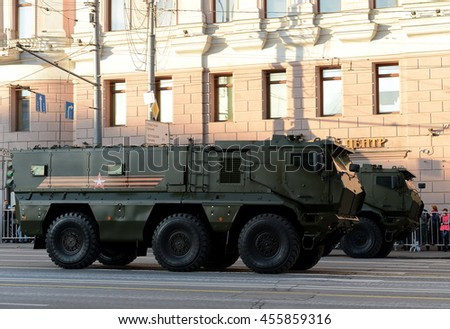 MOSCOW, RUSSIA - MAY 05, 2016: Military equipment on Tverskaya street prepares to travel to the Red Square. Mine-Resistant Ambush Protected (MRAP) armored vehicles Typhoon-K.
