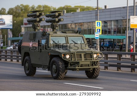 Moscow, RUSSIA - MAY 9 2015: Military transportation on its back way after Victory Day Parade - stock photo
