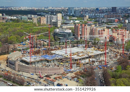 MOSCOW, RUSSIA - MAY 05, 2015: Moscow cityscape. Top view of the construction site Central Dynamo Stadium (VTB arena). Preparations for the FIFA world Cup 2018 - stock photo