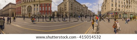 MOSCOW, RUSSIA - 1 May , 2016:  - Panorama Pedestrianized Tverskaya Street street in the spring morning