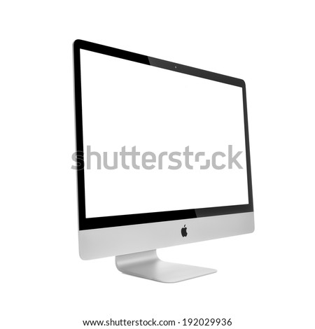 MOSCOW, RUSSIA - MAY 10 , 2014: Photo of new iMac 27 With OS X Mavericks. iMac - monoblock series of personal computers, created by Apple Inc. - stock photo