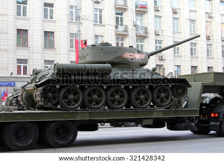 MOSCOW, RUSSIA - MAY 4, 2015: Soviet tank T-34-85 during rehearsals for the Victory Day (World War II) Parade