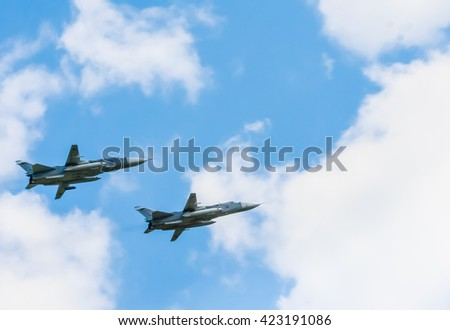 MOSCOW/RUSSIA - MAY 7: 2 Sukhoi Su-24M (Fencer) supersonic all-weather attack aircrafts  on rehearsal of paradedevoted to 71-th Victory Day aniversary, May 9, 2016 in Moscow