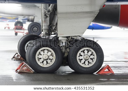 MOSCOW, RUSSIA - MAY 19, 2016: The main landing gear of passenger aircraft Tu-204.
