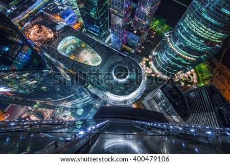 MOSCOW, RUSSIA - MAY 17, 2014: Top view of shopping and entertainment complex Central Core of business complex Moscow City at night. Investments in project Central Core - 300 million dollars