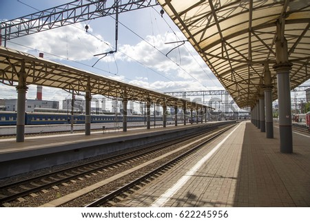 MOSCOW, RUSSIA - MAY, 14 2015: Train on Kiyevskaya railway station  (Kiyevsky railway terminal,  Kievskiy vokzal) -- is one of the nine main railway stations of Moscow, Russia