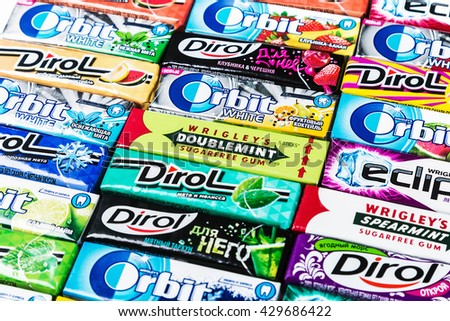 Moscow, RUSSIA - May 24, 2016: various brand chewing gum. bubble gum brands Orbit, Dirol, Eclipse, Stimorol, Wrigley, Spearmint. focus on the Orbit - stock photo