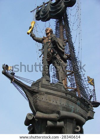 Moscow, Russia, Monument to great Russian tsar Peter 1 - stock photo