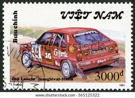 MOSCOW, RUSSIA - NOVEMBER 01, 2015: A stamp printed in Vietnam shows Lancia Italia, series Rally Cars, 1991 - stock photo