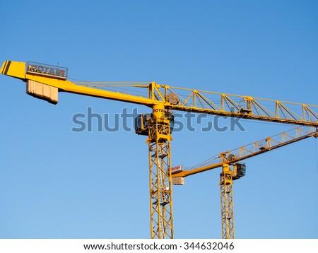 Moscow, Russia - November 28, 2015: Potain Tower Cranes - stock photo