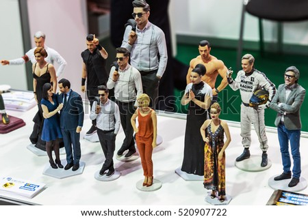 "Moscow, Russia, November 17, 2016: 4th Annual International Conference and Exhibition of 3D printing and scanning ""3D Expo 2016"" in Moscow. exhibits and objects on display"