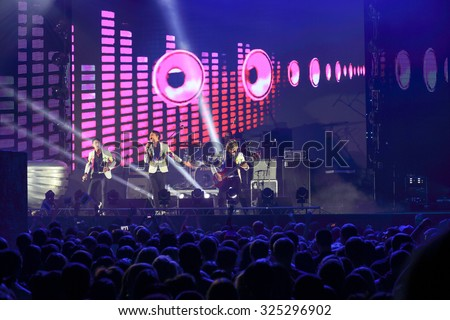 MOSCOW, RUSSIA - NOVEMBER 15, 2014: The musical group Na-Na performs on stage of a night club Space Moscow at a party Diskach 90th. The participants of the concert are Russian stars of the nineties - stock photo